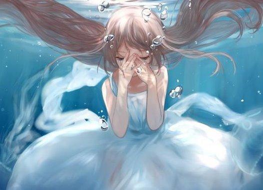 水中女孩插画