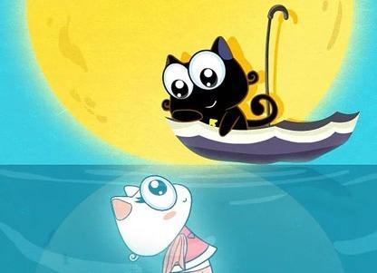 水中圆月up猫