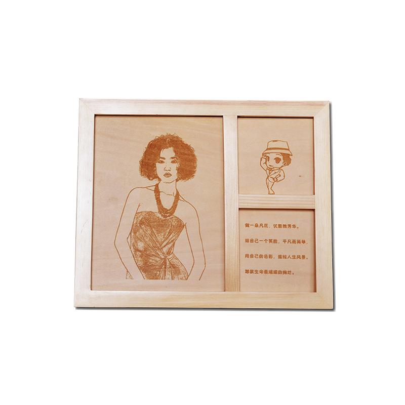 三格木板画相框木刻画定制