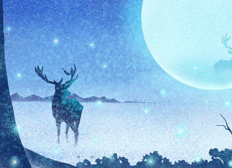 鹿与星空月亮唯美插画