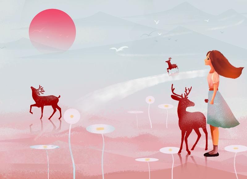 女孩与小鹿