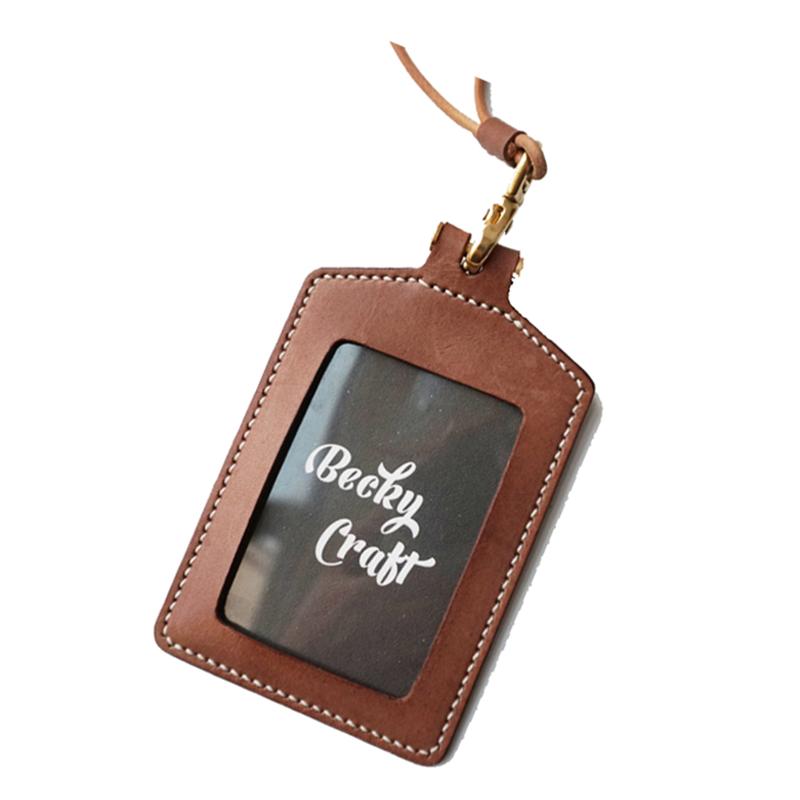 包邮植鞣革证件套卡套带挂绳胸卡工作牌手工订制工牌厂牌门禁胸牌