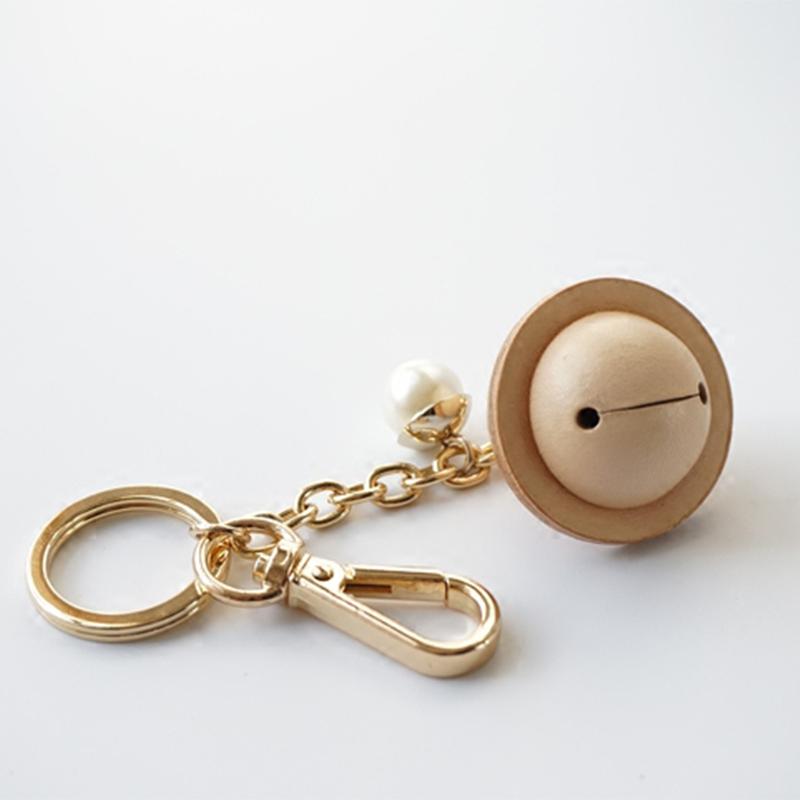 新品爆款进口植鞣革手工皮铃铛创意钥匙扣钥匙挂件个性汽车钥匙扣