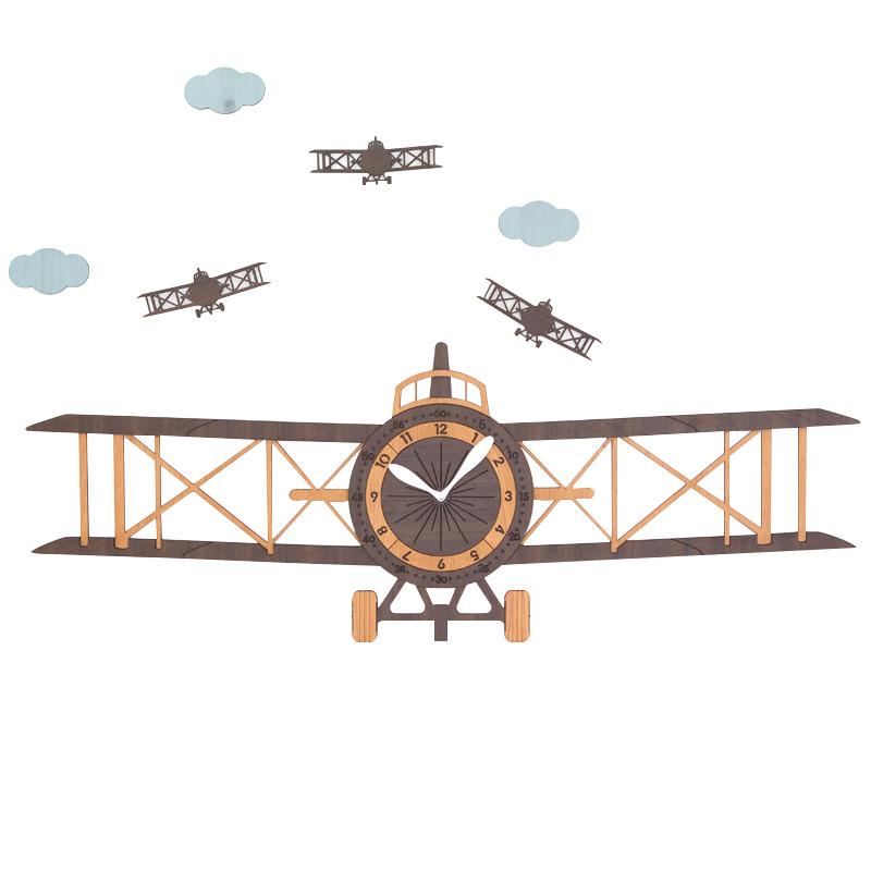 飞机时钟创意挂钟客厅现代欧式儿童卡通木质挂表