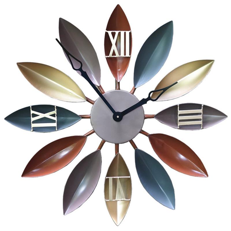 简约复古叶子墙面時鐘客厅装饰钟表时尚欧式家居创意铁艺挂钟