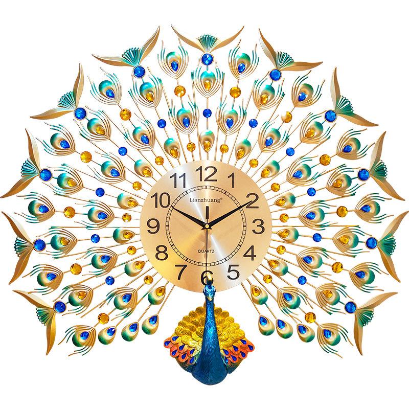 欧式孔雀挂钟客厅钟表创意个性现代艺术装饰时钟静音壁挂表