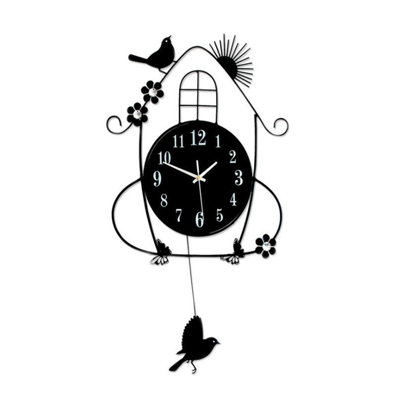 喜鹊房子欧式钟表 客厅创意挂钟简约壁钟夜光钟静音石英钟