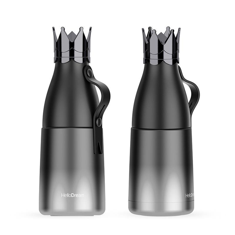 皇冠保温杯304不锈钢杯保温壶渐变色创意个性水杯