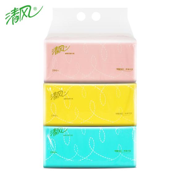 清风抽纸200抽婴儿用卫生纸餐巾纸3包一提