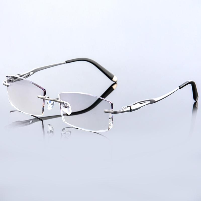 【酷定吧】0125 豪华纯钛 钻石切边 男士无框近视眼镜定制(含黛玛诗镜片)