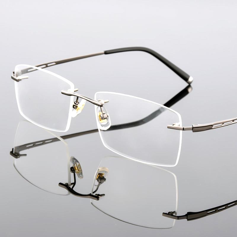 【酷定吧】0128 超轻合金无框商务男士近视眼镜定制(含黛玛诗镜片)