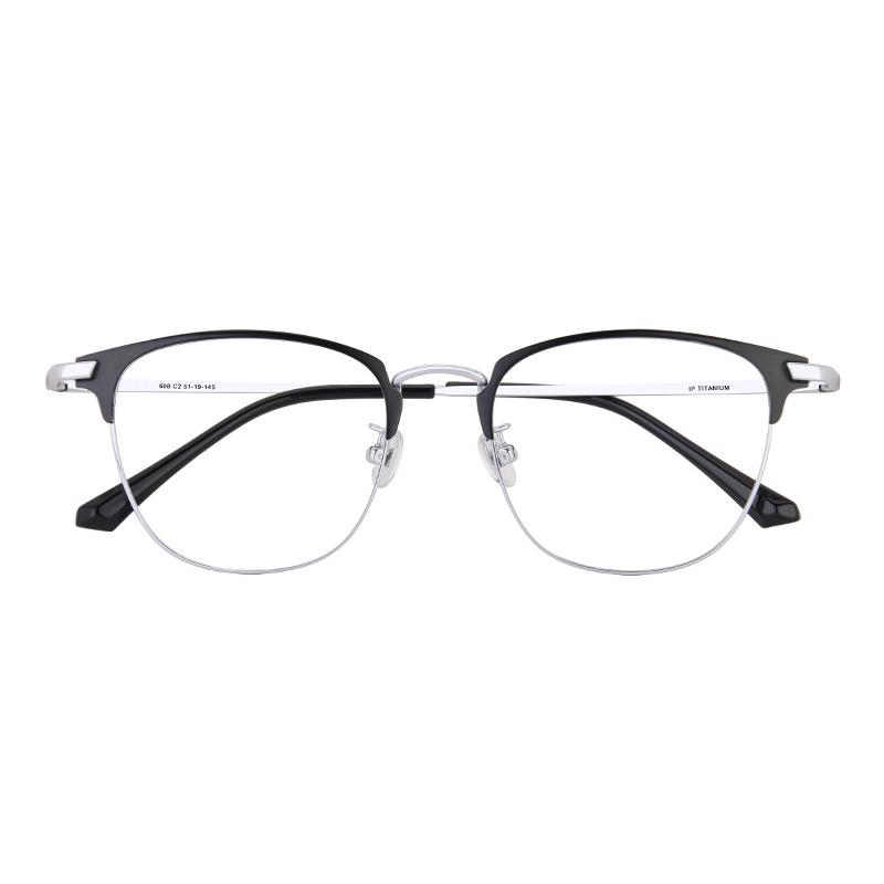 【酷定吧】 0100 豪华B钛 超轻商务近视+内渐进多焦点眼镜定制(含非球面品牌树脂镜片)