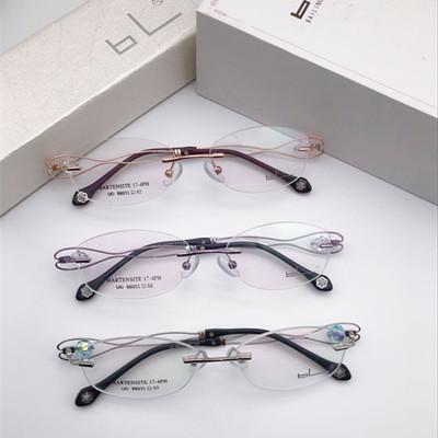 【酷定吧】0131 白领贵族水晶元素无框近视眼镜定制(含镜片)