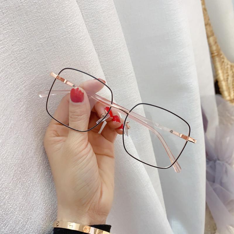 【酷定吧】0158  超轻TR90金属混合方形近视眼镜定制(含黛玛诗品牌树脂镜片)