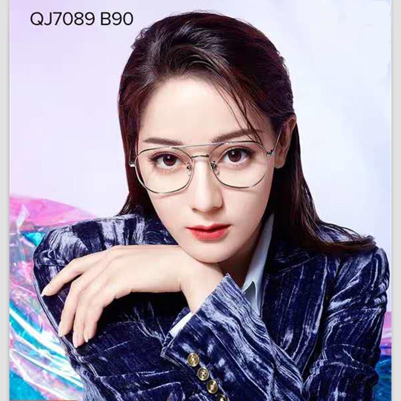 【酷定吧】QINA亓那新款近视眼镜轻便钛金属眼镜架个性双梁复古眼镜框QJ7089(送黛玛诗超发水膜高清镜片)