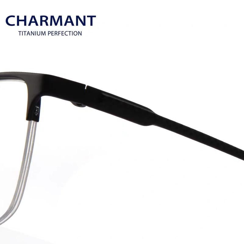 【酷定吧】CHARMANT夏蒙β钛材眼镜架男士商务半框光学近视眼镜镜框 CH10351(送明月1.56防蓝光镜片)