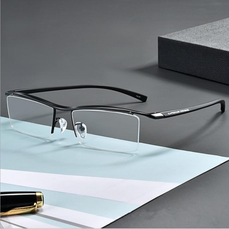 【酷定吧】0200 超轻纯钛男款半框近视眼镜定制(含明月非球面镜片)